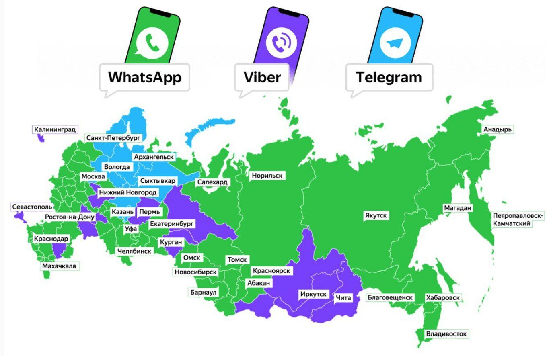 Использование мессенджеров по регионам РФ